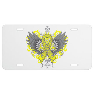 Ewing Sarcoma Cool Awareness Wings License Plate