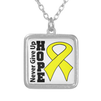 Ewing Sarcoma Hope Never Give Up Square Pendant Necklace
