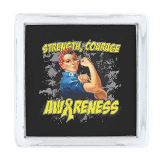 Ewing Sarcoma Strength Courage Awareness Silver Finish Lapel Pin