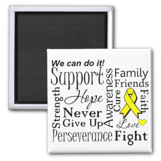 Ewing Sarcoma Supportive Words 2 Inch Square Magnet