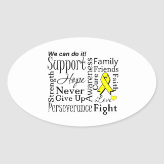Ewing Sarcoma Supportive Words Oval Sticker