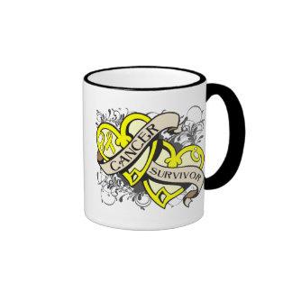 Ewing Sarcoma Survivor Dual Hearts Ringer Coffee Mug