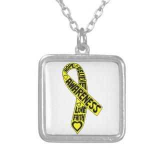 Ewings Sarcoma Slogans Ribbon Custom Necklace