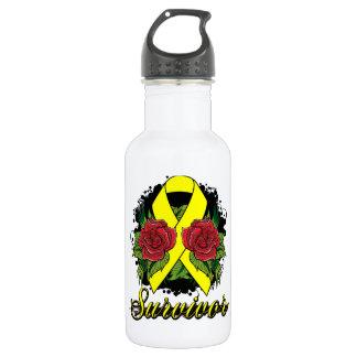 Ewings Sarcoma Survivor Rose  Grunge Tattoo Water Bottle