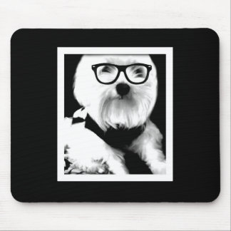 Ewok. Cute maltese with glasses Mouse Pad
