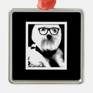 Ewok Cute maltese with glasses Christmas Ornament