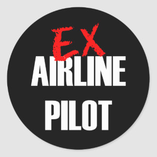 EX AIRLINE PILOT CLASSIC ROUND STICKER