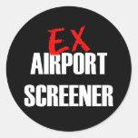 EX AIRPORT SCREENER ROUND STICKERS