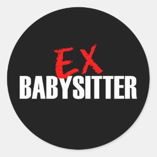 EX BABYSITTER DARK CLASSIC ROUND STICKER