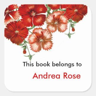 Ex Bookplate de Libris, clavel rojo Pegatina Cuadrada