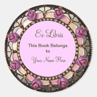 Ex Bookplate de Libris del capullo de rosa rosado Pegatina Redonda