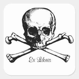 Ex bookplate del cráneo de Libris Pegatina Cuadrada
