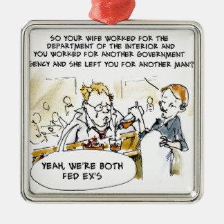 Ex cónyuge federal divertido adorno navideño cuadrado de metal