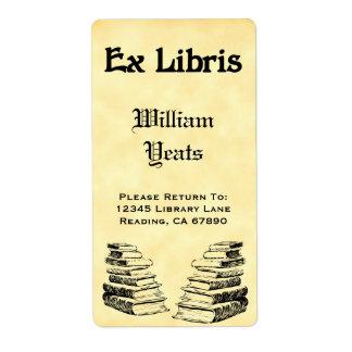 Ex etiquetas de encargo de los libros del vintage etiqueta de envío
