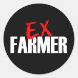 EX FARMER DARK ROUND STICKERS