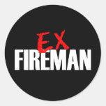 EX FIREMAN DARK CLASSIC ROUND STICKER