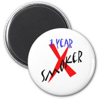 Ex-fumador del rojo de 1 año imán redondo 5 cm