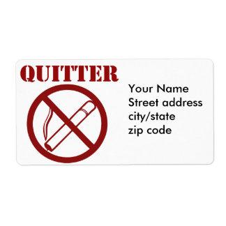 Ex fumador porque Im un QUITTER Etiqueta De Envío