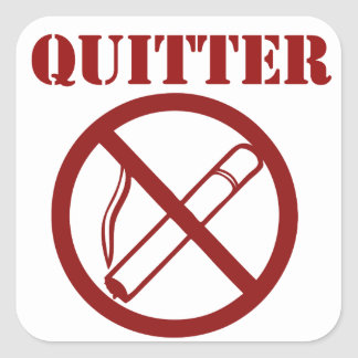 Ex fumador porque Im un QUITTER Calcomanías Cuadradas Personalizadas