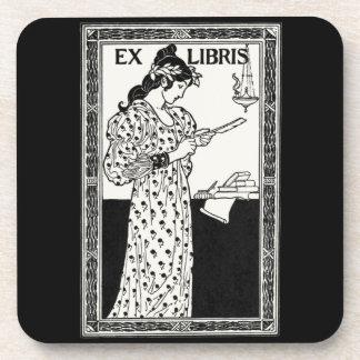 Ex libris art nouveau coaster