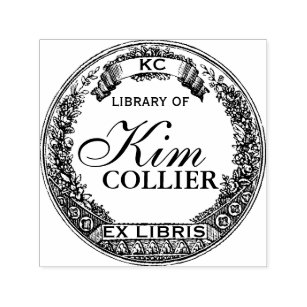 Personalized Ex Libris Two Fireflies Rubber Stamp I28