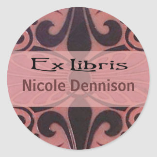 Ex Libris Bookplate Sticker (Tilo coral)