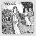 Ex Libris Bookplate with your name personalized Square Sticker