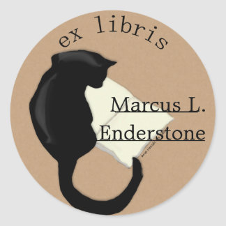 ex libris, cat reading classic round sticker