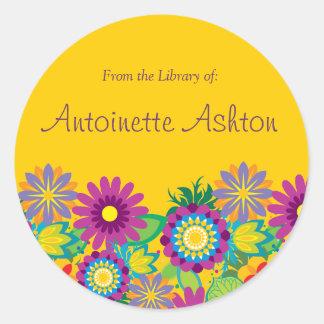 Ex Libris Floral Label Sticker
