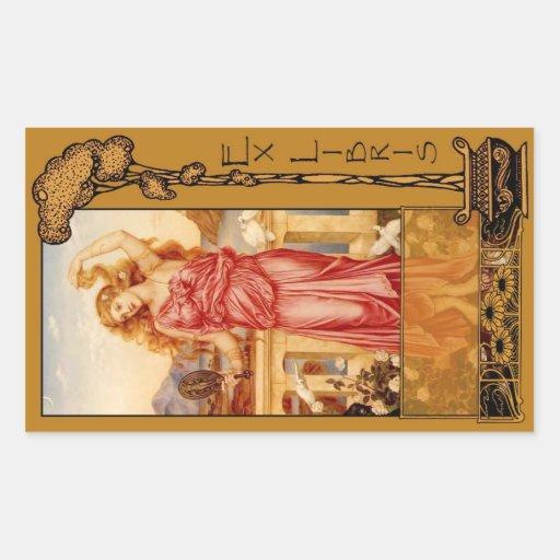 Ex Libris - Helen de la placa de libro de Troy Pegatina Rectangular