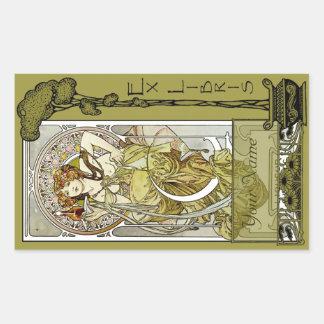 Ex Libris - libro del anuncio del néctar Placa-Su Rectangular Pegatinas