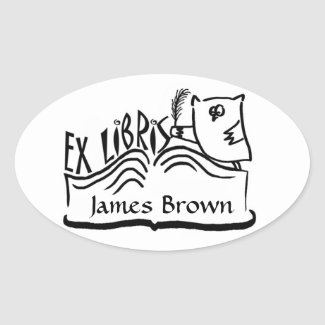 Ex Libris Owl with Book Stickers