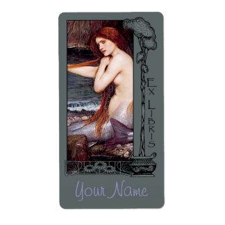 Ex Libris - placa de libro de la sirena v2-B Etiqueta De Envío