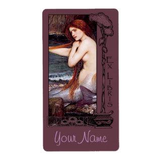 Ex Libris - placa de libro de la sirena v2 Etiqueta De Envío