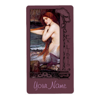 Ex Libris - placa de libro de la sirena v2 Etiquetas De Envío