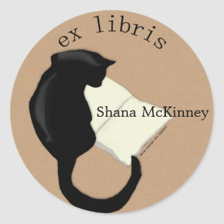 Ex Libris Reading Cat Rounded  Bookplate Classic Round Sticker