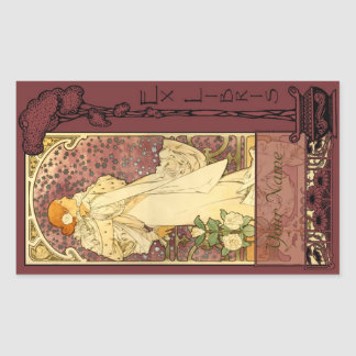 Ex Libris - Sarah Bernhardt Book Plate 4 Rectangular Sticker