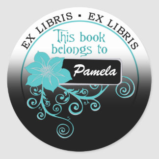 Ex Libris Sticker (floral aqua/black/white)
