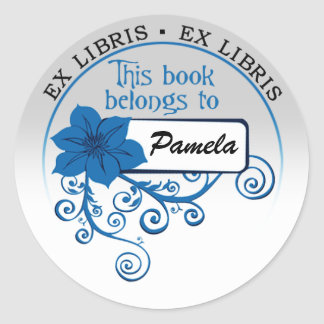 Ex Libris Sticker (floral blue & background)