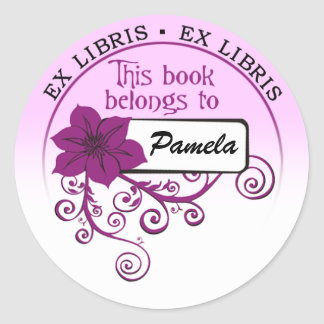 Ex Libris Sticker (floral purple & background )