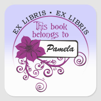 Ex Libris Sticker (floral purple/blue)