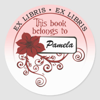 Ex Libris Sticker (floral red & background )
