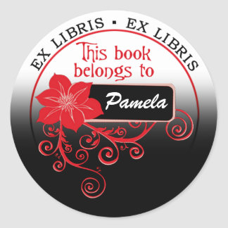 Ex Libris Sticker (floral red/black/white)