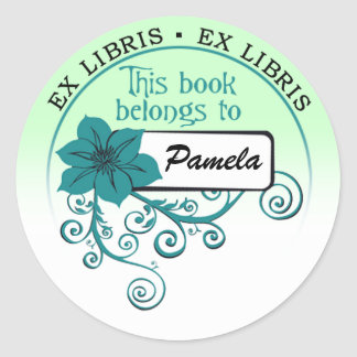 Ex Libris Sticker (floral teal & background)
