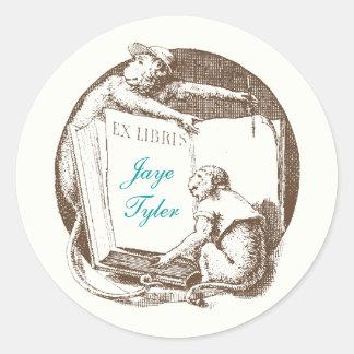 Ex Libris Vintage Monkeys Bookplate Classic Round Sticker