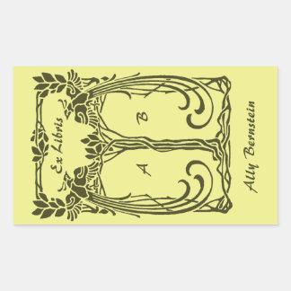 Ex Libris vintage peacocks add name initials Sticker