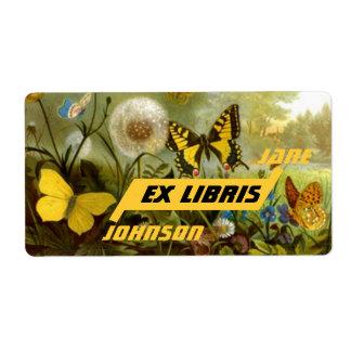 Ex mariposas y Wildflowers de Libris del Bookplate Etiqueta De Envío