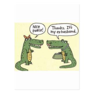 Ex monedero divertido del cocodrilo del marido postales