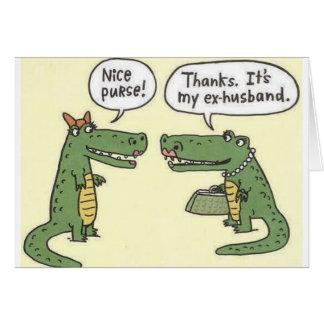Ex monedero divertido del cocodrilo del marido tarjeta de felicitación
