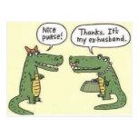 Ex monedero divertido del cocodrilo del marido tarjetas postales